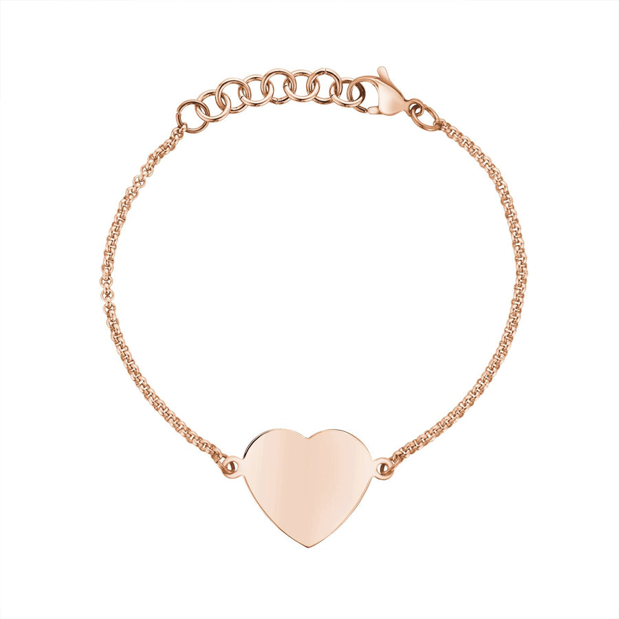 Women Bracelet - Personalized Rose Gold Stainless Steel Heart Bracelet - Engravable