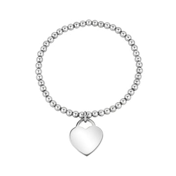Women Bracelet - Personalized Steel Heart Charm Stretch Bead Bracelet - Engravable