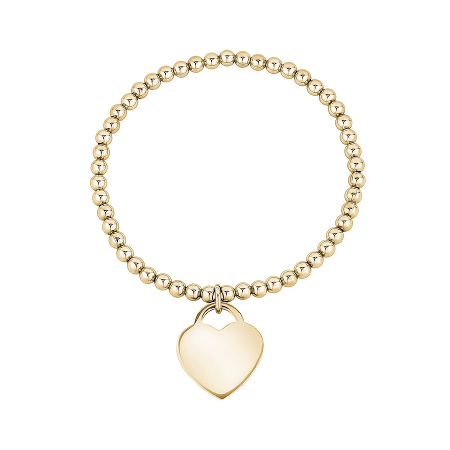 Women Bracelet - Personalized Steel Gold Heart Charm Stretch Bead Bracelet - Engravable
