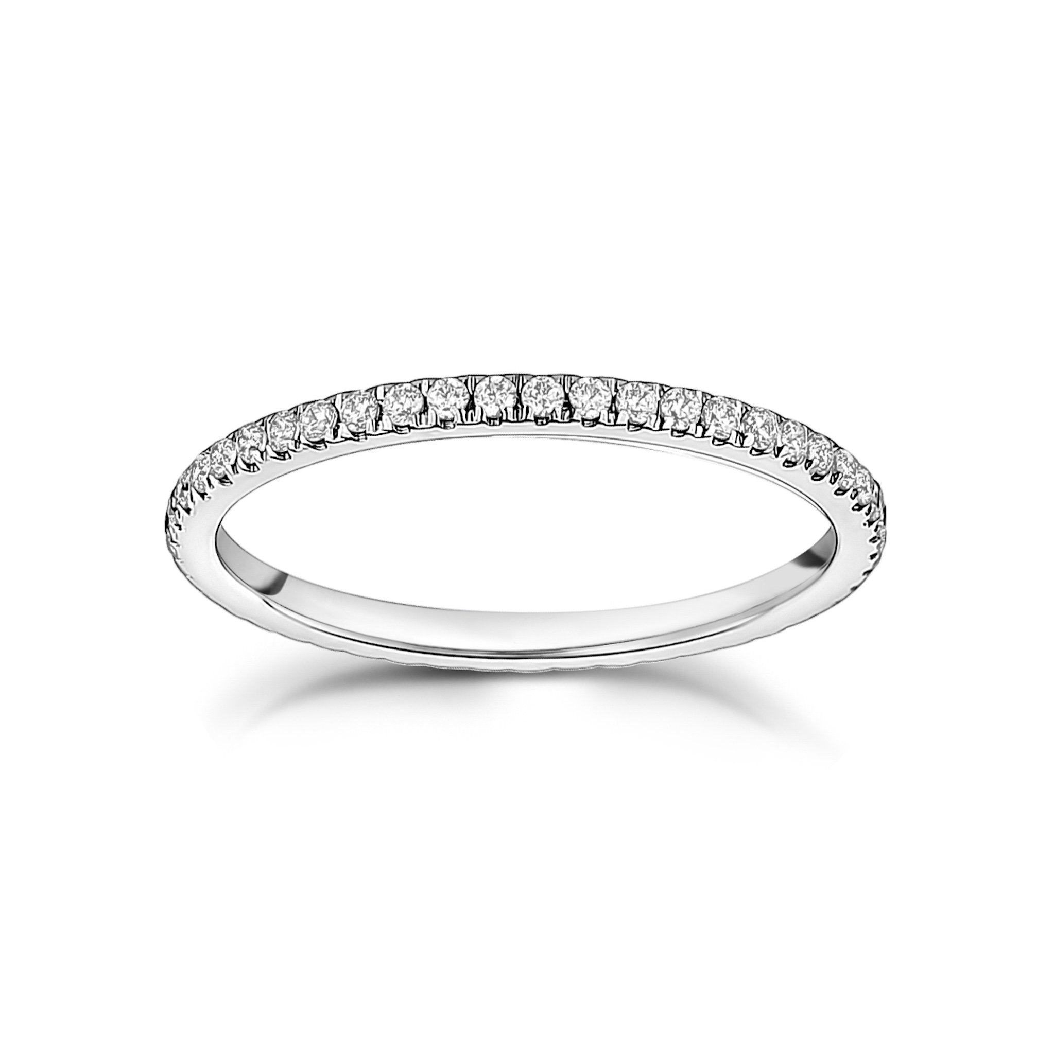 Women Ring - 1.5mm Thin Cubic Zircon Stainless Steel Eternity Band
