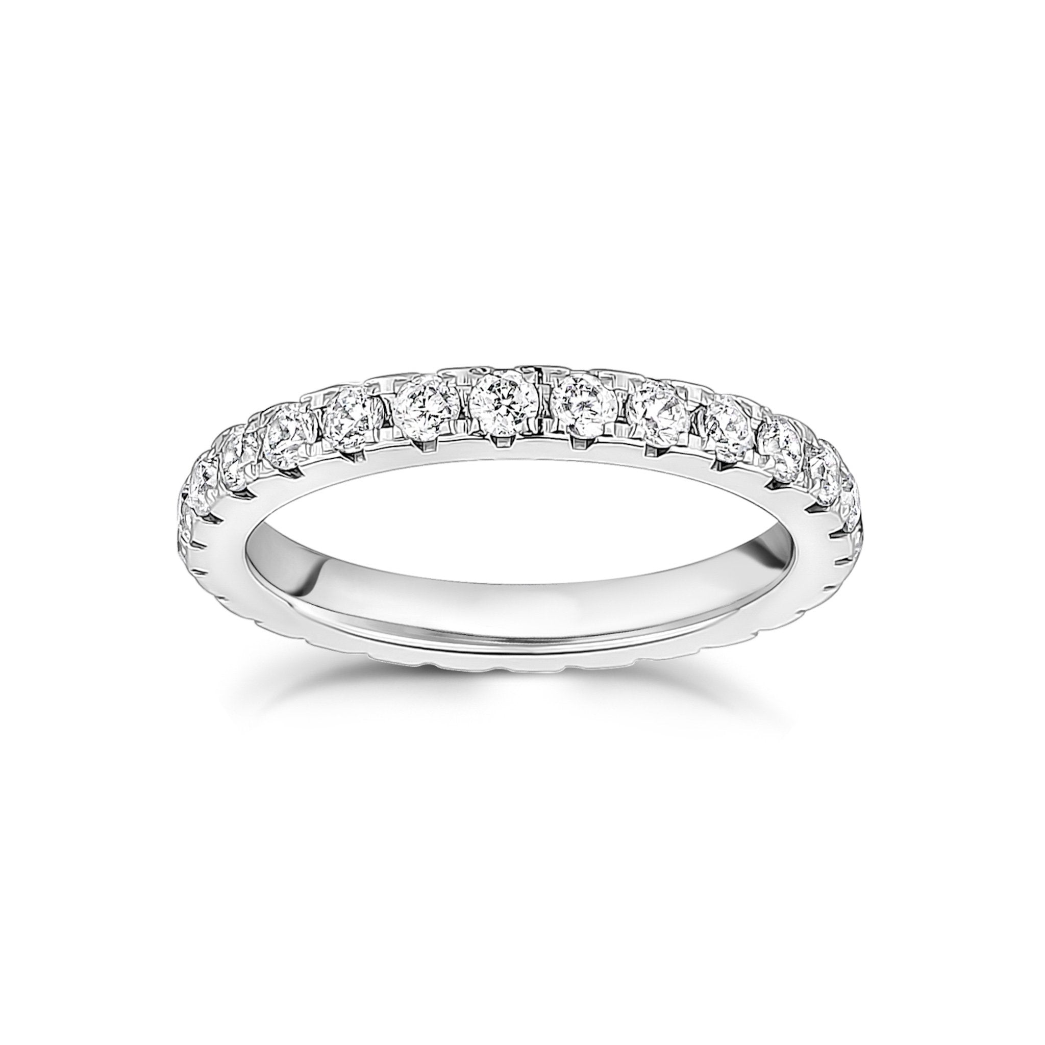 Women Ring - 2.5mm Cubic Zircon Stainless Steel Eternity Band