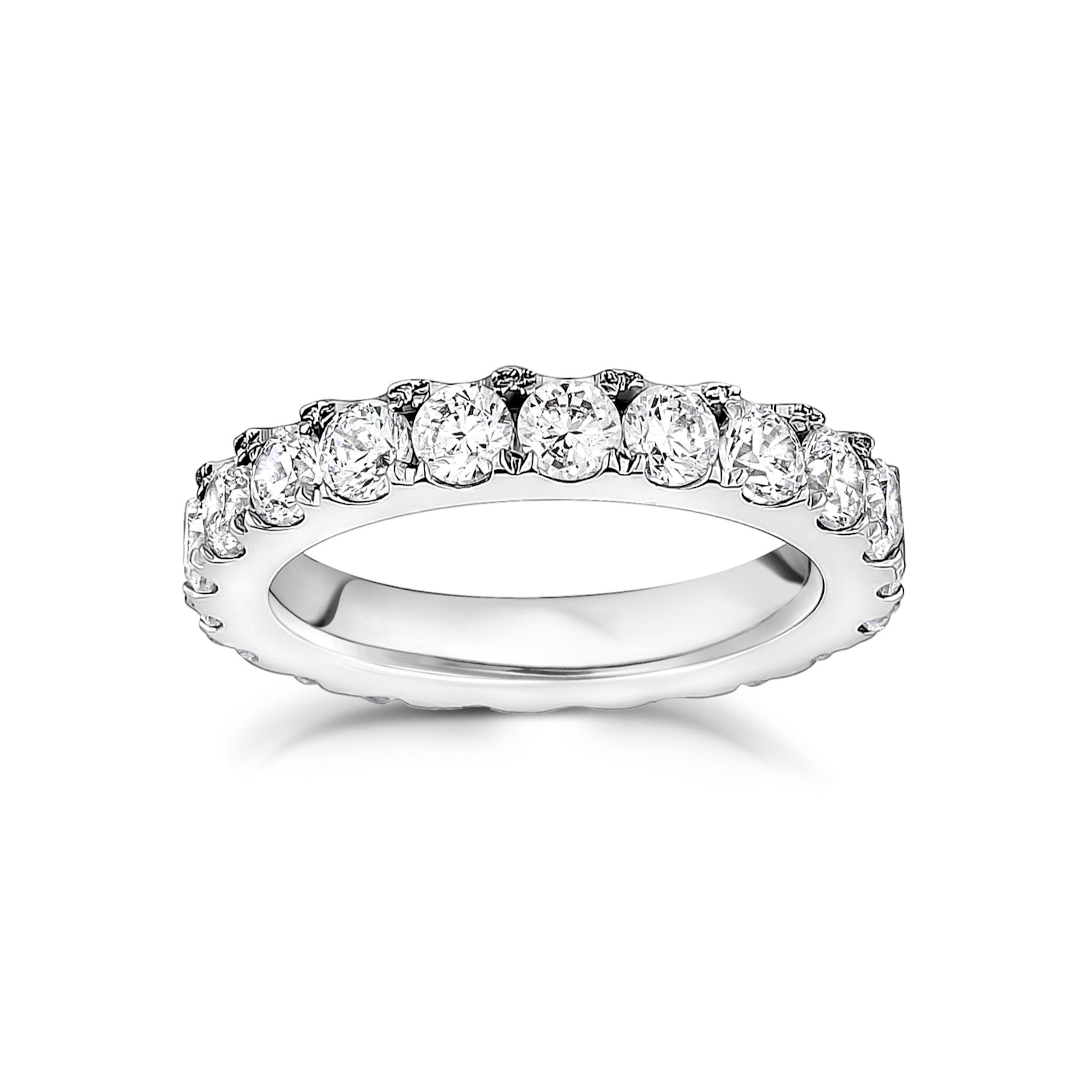 Women Ring - 3.5mm Cubic Zircon Stainless Steel Eternity Band