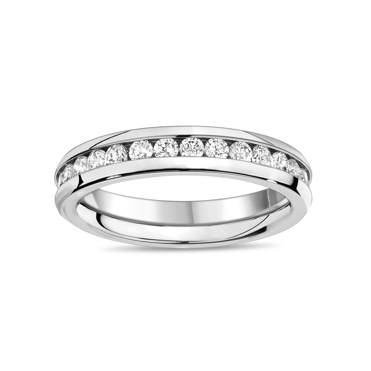 Women Ring - Stainless Steel Channel Setting Eternity Ring