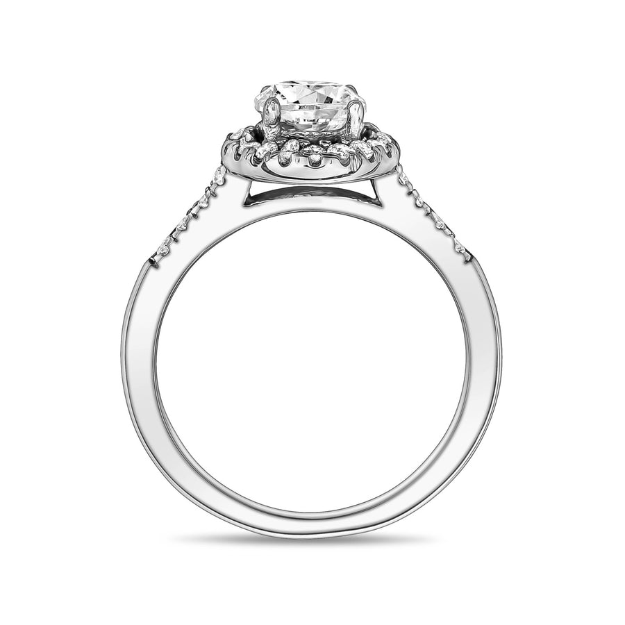 Women Ring - Stainless Steel Classic Halo Round Solitaire Ring