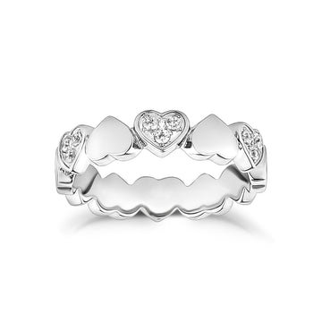 Stainless Steel Cubic Zircon Heart Eternity Band