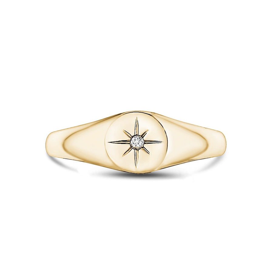 Stainless Steel North Star Signet Ring