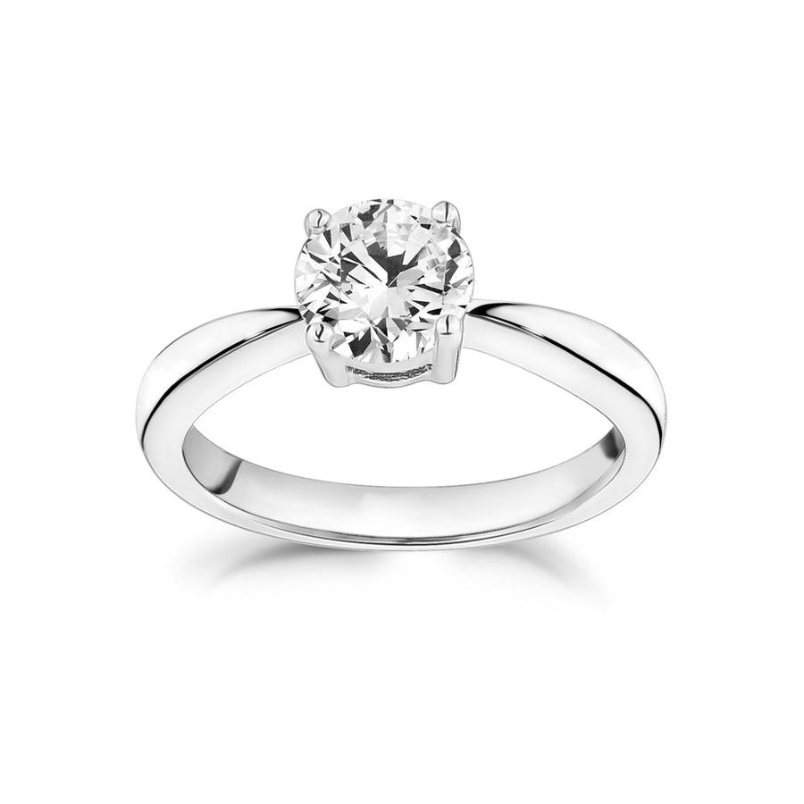Stainless Steel Round Solitaire Engagement Ring
