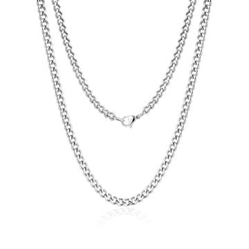 Women's Necklaces - 4mm Curb Link Stainless Steel Choker Necklace
