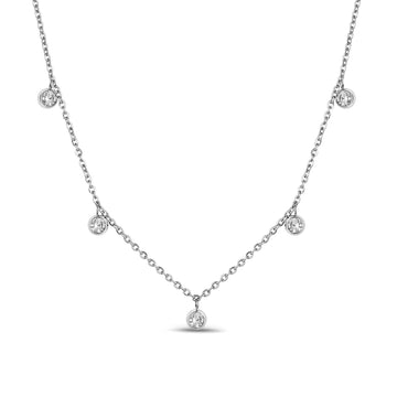 Women's Necklaces - 5mm Cubic Zircon Dangling Steel Necklace