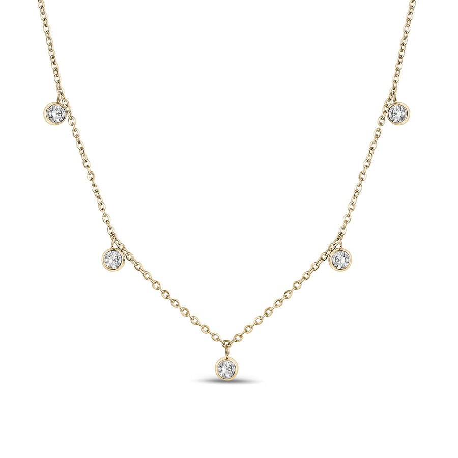 Women's Necklaces - 5mm Cubic Zircon Dangling Gold Steel Necklace