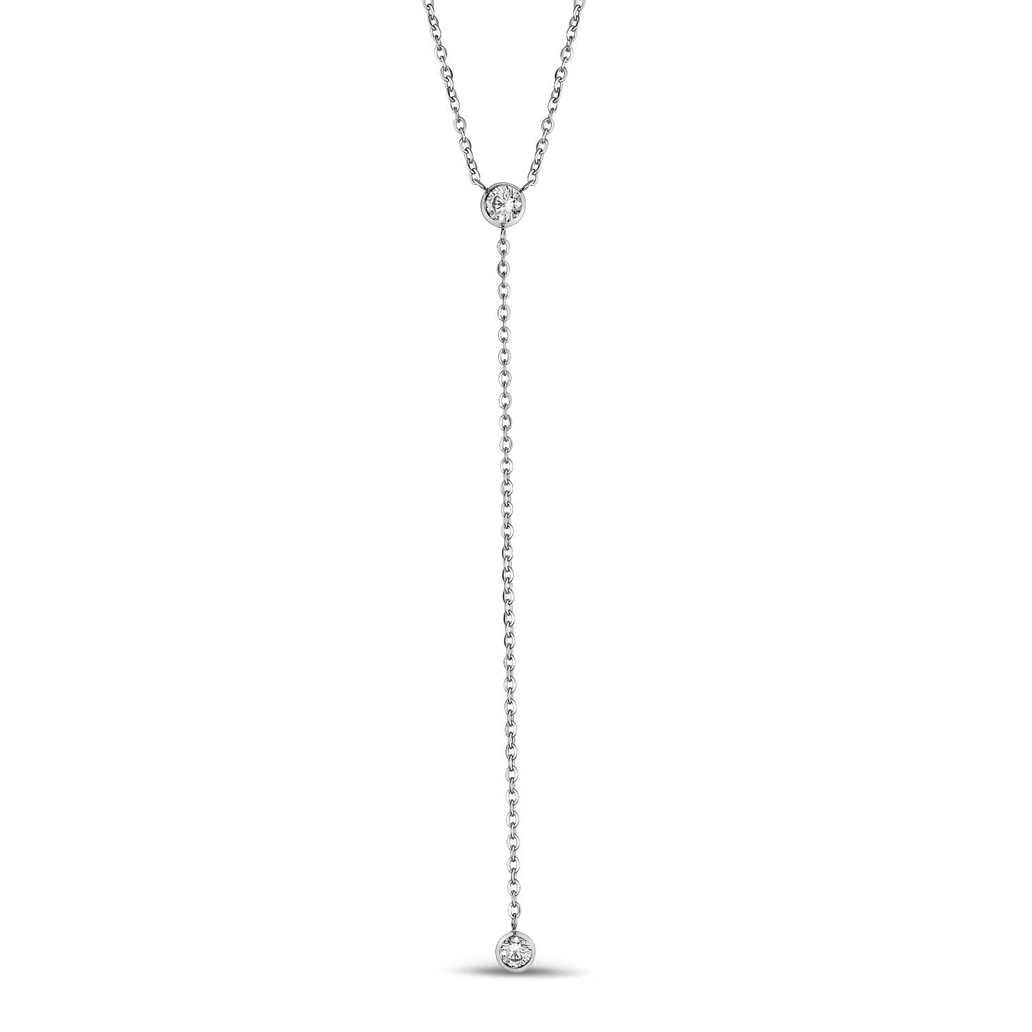Women's Necklaces - Cubic Zircon Dangling Stainless Steel Necklace