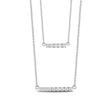 Women's Necklaces - Double Bar Layered Stainless Steel Necklace