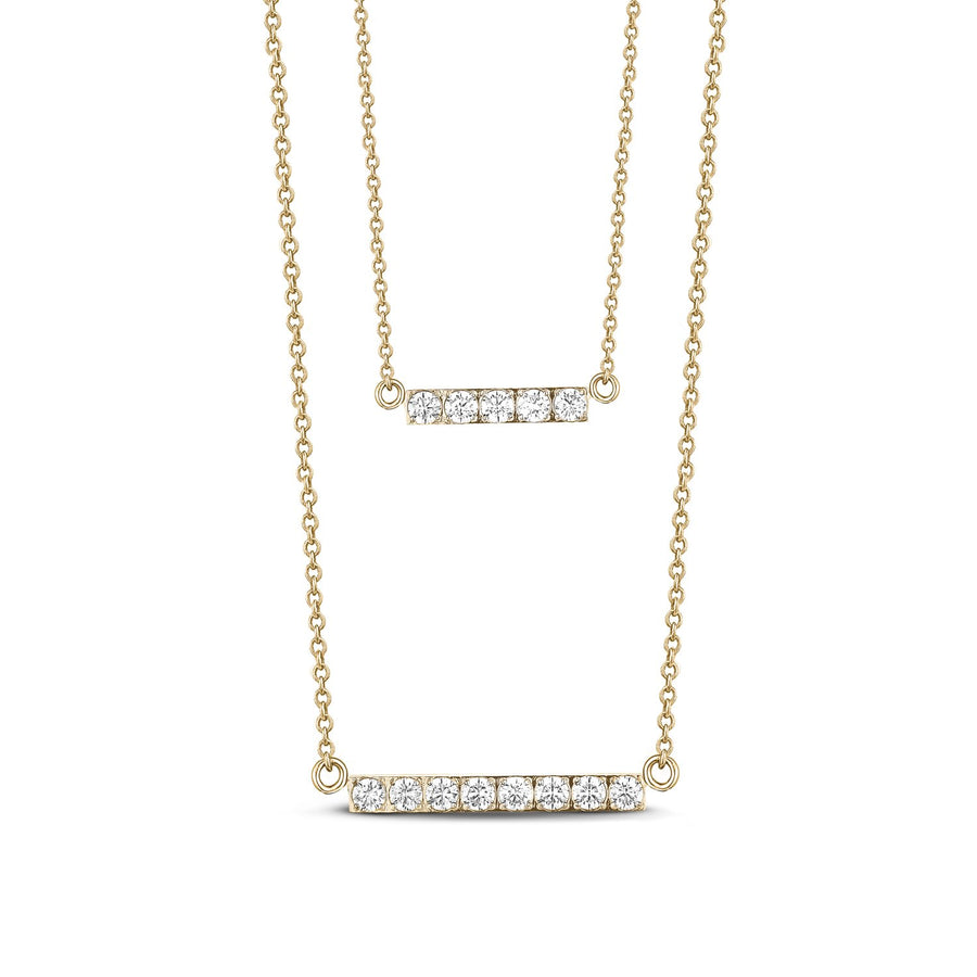 Women's Necklaces - Double Bar Layered Gold Stainless Steel Necklace