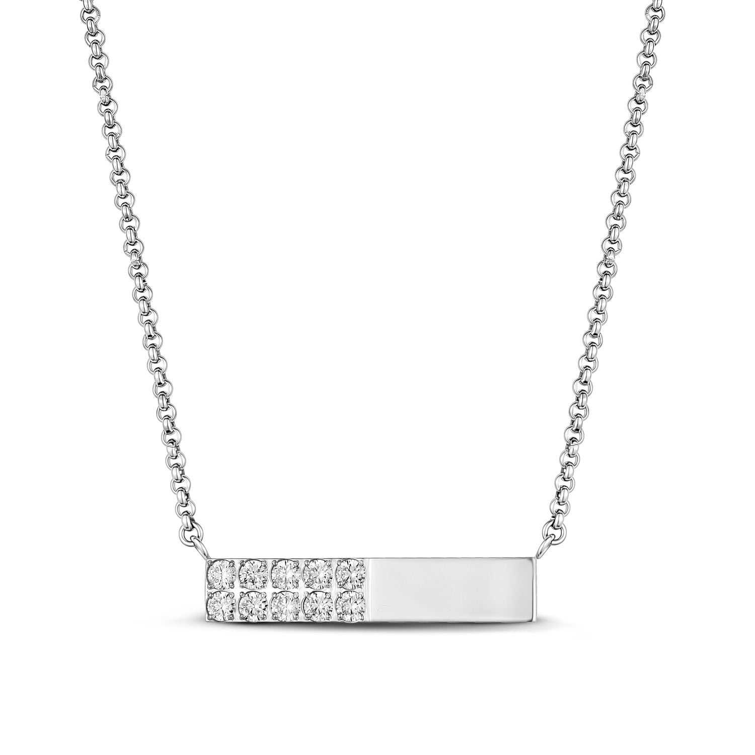 Women's Necklaces - Stainless Steel Cubic Zircon Reversible Bar Necklace - Engravable