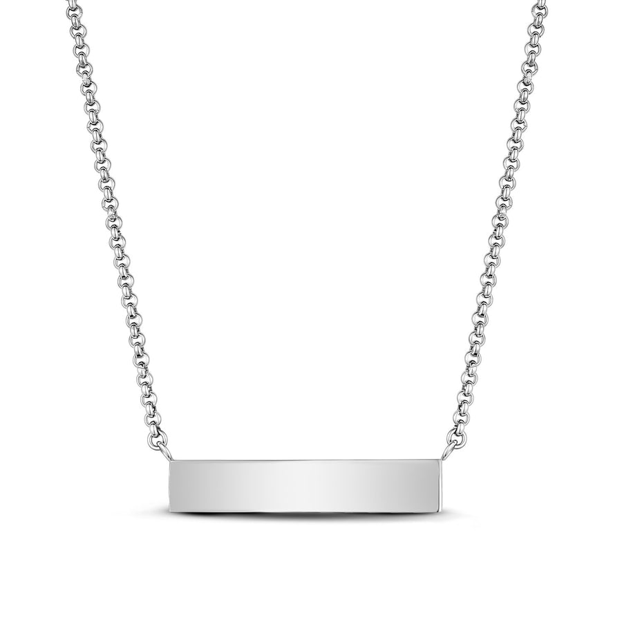 Stainless Steel Cubic Zircon Reversible Bar Necklace - Engravable