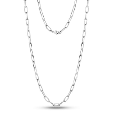 Stainless Steel Paper Clip Chain Necklace