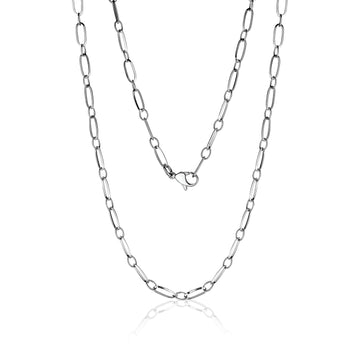 Women's Necklaces - Stainless Steel Paperclip Style Necklace