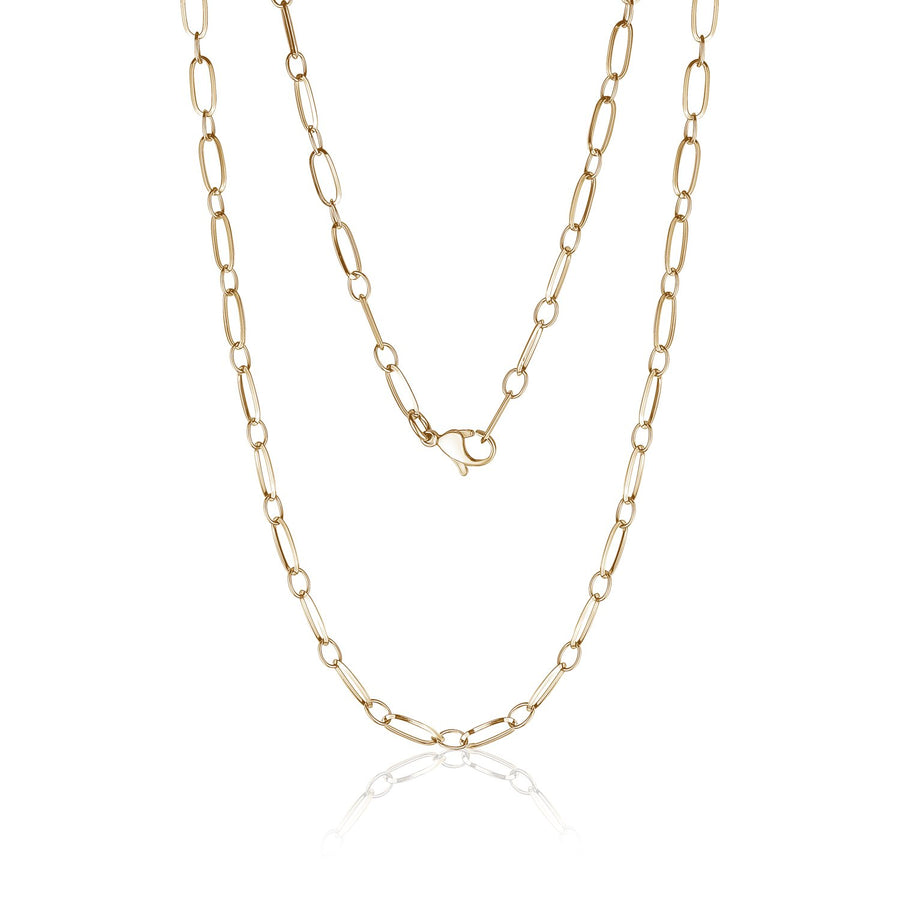 Women's Necklaces - Gold Stainless Steel Paperclip Style Necklace