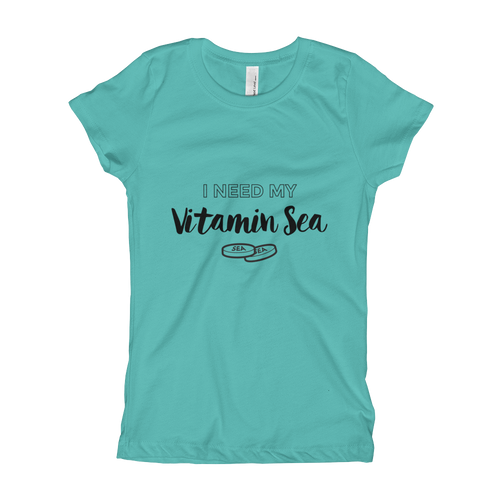 Need My Vitamin Sea- Girls Tee  (available in teal, gray, pink & white)