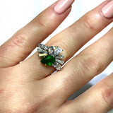 New 14K White Gold 0.83ct EMERALD & 1.5TCW F-G VS DIAMONDS Ladies Ring 5.9g