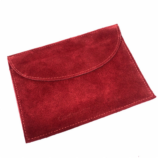 "CARTIER POUCH 6x4.25"" Red Genuine Suede Leather in mint condition clean"