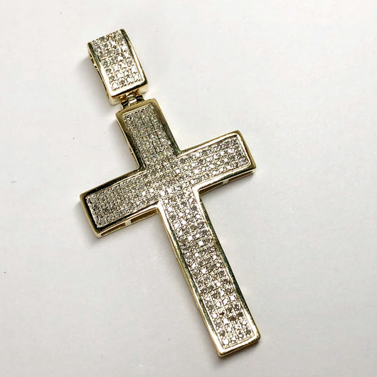 Vintage LARGE 10K Yellow Gold CROSS PENDANT ~1TCW Micro Pave Round Natural DIAMONDS 6g