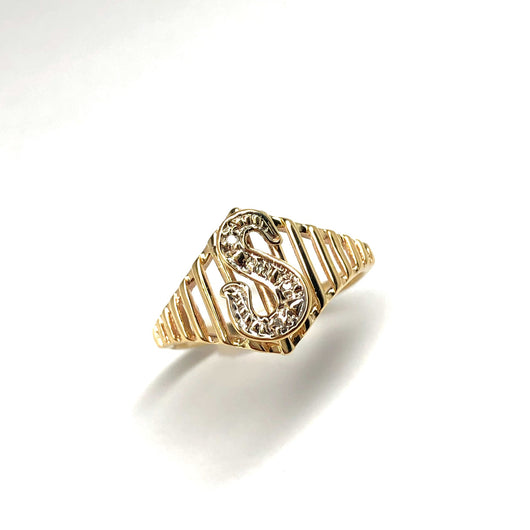 "10K Yellow Gold Natural DIAMOND ""S"" Letter Ladies Ring 2.1g Size 7.75 Resizable"