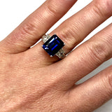Platinum 5.17ct Blue Emerald Cut SAPPHIRE & 1.19TCW F-G VS 6 Natural DIAMONDS Ladies Ring 11g Weight