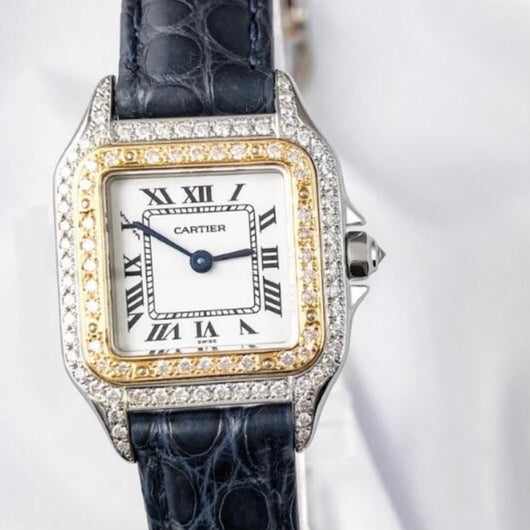 CARTIER PANTHERE 22mm Quartz 18K Gold & Steel DIAMOND Watch