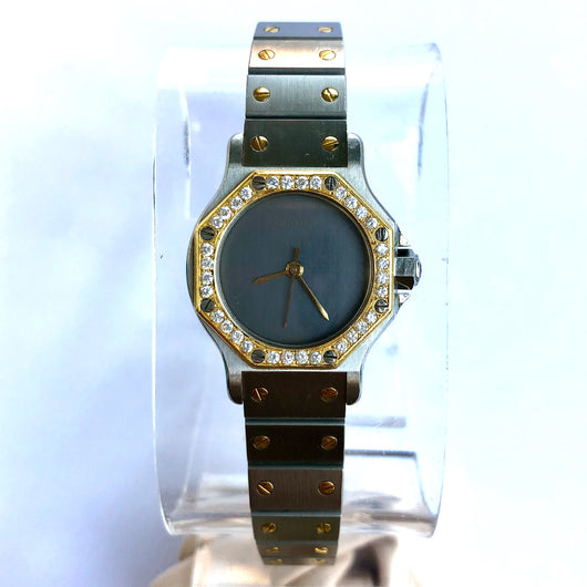 CARTIER SANTOS OCTAGON Automatic 18K Yellow Gold & Steel Ladies Watch DIAMONDS