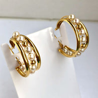 Stamped 18K Yellow Gold Genuine Pearls Earrings Polished