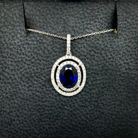 18K White Gold 1.54ct Blue SAPPHIRE & 0.31 TCW F-G VS of 64 Natural DIAMONDS Pendant with Chain 1.90g Weight