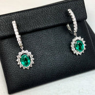 18K White Gold 2.43TCW Green Oval EMERALD 1.23TCW F-G VS of 46 Natural Round DIAMONDS Earrings 4.7g Weight