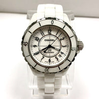 CHANEL J12 Date Automatic Steel & White Ceramics Ladies Watch, Rotating Bezel