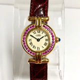 Must De CARTIER VERMEIL COLISÈE Quartz Electroplated Ladies Watch 0.55TCW Pink SAPPHIRES