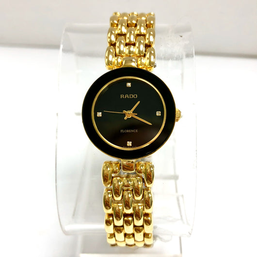 RADO FLORENCE Quartz Gold Electroplated & Steel Ladies Watch FACTORY DIAMONDS