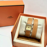HERMÈS HEURE H Two Tone Ladies Watch ~1TCW DIAMONDS Hermès Double Tour Brown Leather Band