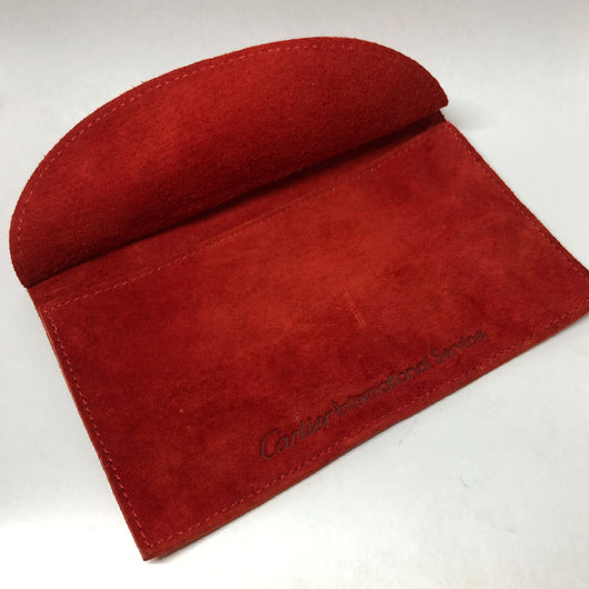 "CARTIER  POUCH 6x4"" Red Genuine Suede Leather in mint condition clean"