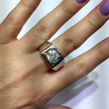 New 14K White Gold 3.31 TCW DIAMOND Men's Ring 12.20g