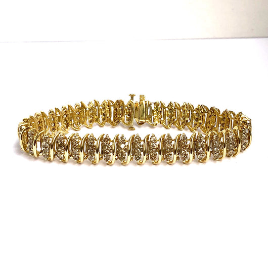 Estate 14K Yellow Gold 5TCW Natural DIAMONDS Ladies TENNIS BRACELET 21.8g 7""