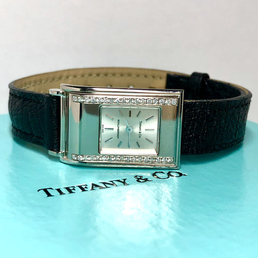 TIFFANY & CO. Schlumberger 18K Gold Ladies Watch DIAMOND Bezel Ladies Watch