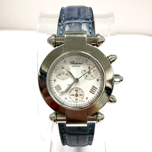 CHOPARD IMPERIALE Chronograph Steel Ladies Watch CHOPARD Blue Leather Band