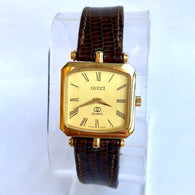 GUCCI Quartz Yellow Gold Electroplated Ladies Watch Brown GUCCI Band Swiss