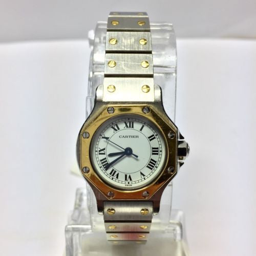 CARTIER SANTOS OCTAGON 18K Gold & Steel Automatic Ladies Watch in Box