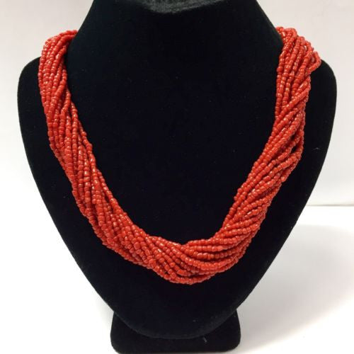Vintage 23 Inches Long Multi-Strand CORAL NECKLACE