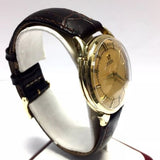 Vintage 32.5mm OMEGA 14K Yellow Gold Automatic Men's Watch w/ Brown Leather Band