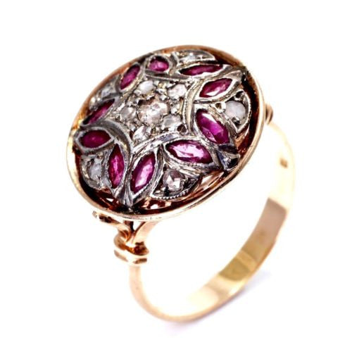 14K Solid Yellow Gold Ladies RING w/ RUBIES 1 TCW & Zircon Size 8.75 Resizable