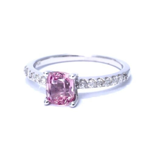 14K White Gold PINK SAPPHIRE 1 TCW RING w/ DIAMONDS 0.15 TCW Size 7 Resiz., 2.7g