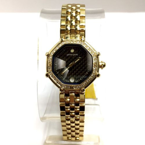 GÉRALD GENTA SUCCESS 18K Yellow Gold Ladies Watch w/ FACTORY DIAMONDS In Box