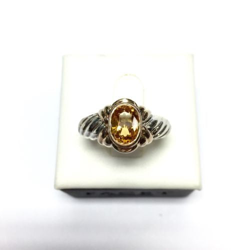 Rose Gold-Plated Sterling Silver CITRINE Unisex RING Size 6.75, 5.5g